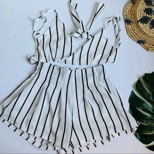 Zaful | black and white striped two piece set S